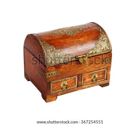 Closeup photo of a beautiful vintage jewelry box on white background