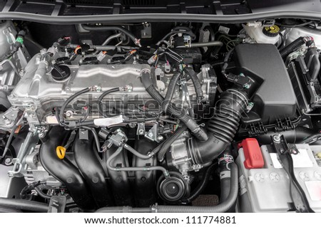 Closeup photo of a clean motor block - stock photo