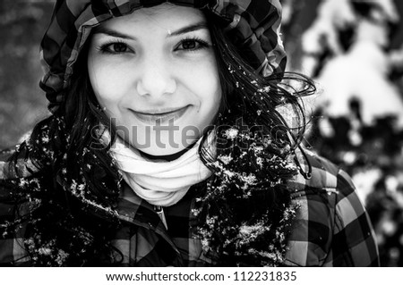 Closeup photo of a young adult at winter - stock photo