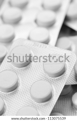Closeup photo of blister of pills - stock photo