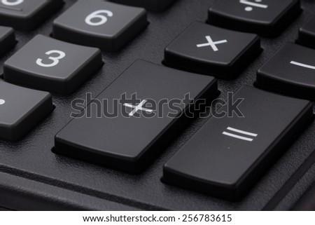 Closeup photo of calculator keypad gray buttons - stock photo