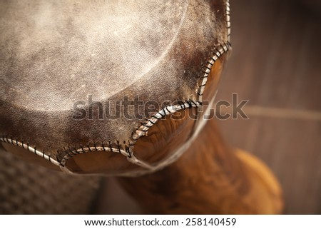 Closeup photo of djembe - small African drum - stock photo
