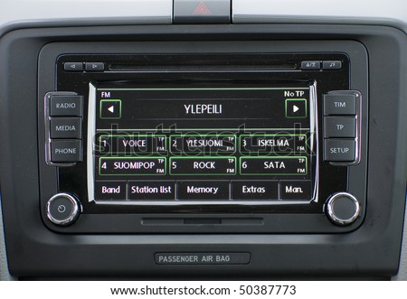 Closeup photo of modern car radio display. - stock photo