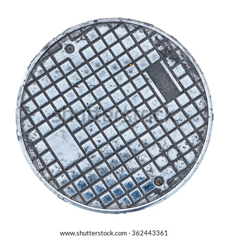 Closeup photo of Old Sewer manhole cover on white background   - stock photo