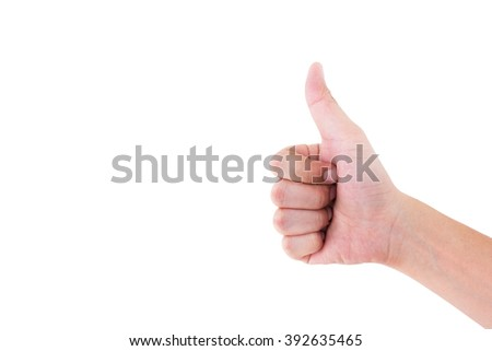 Closeup photo of person's hand in like sign isolated on white background