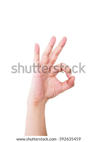 Closeup photo of person's hand in ok sign isolated on white background