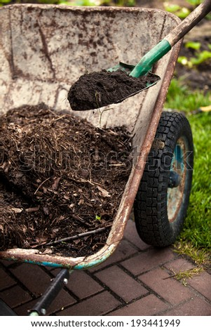 Closeup photo of spade putting soil in old wheelbarrow - stock photo
