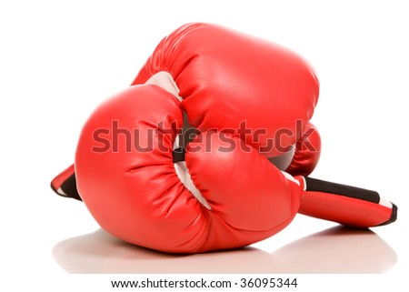 closeup photo of the boxing gloves with bounce on a white background - stock photo