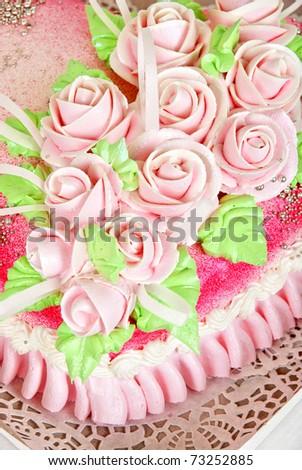 Closeup photo of the red wedding cake - stock photo