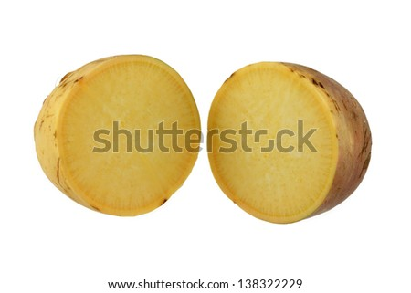 Closeup photo of Turnip (Brassica rapa) cut in half, on a white background - stock photo