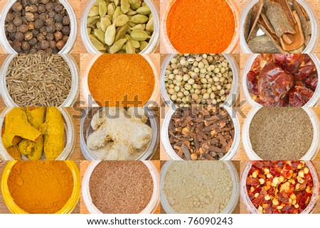 closeup  photo of various spices all over the world - stock photo