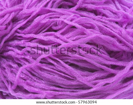 Closeup photo of violet synthetic yarn