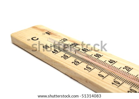 Closeup photo of wooden thermometer on white background - stock photo