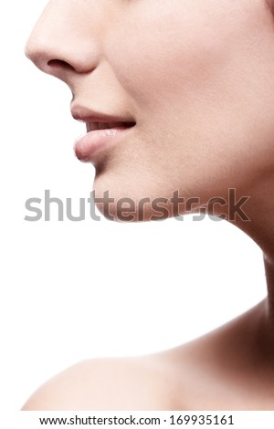 Closeup photo of young female's nose and lips, profile. - stock photo