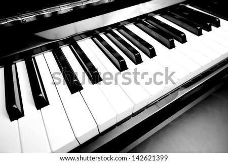 Closeup piano keys - stock photo