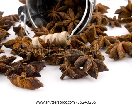Closeup picture of aromatic anise on white background