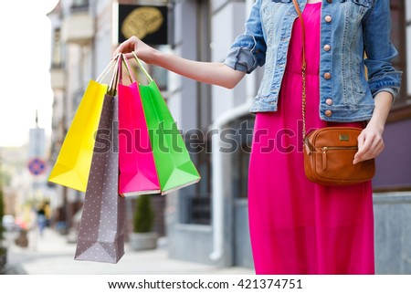 closeup picture of colored shopping bags