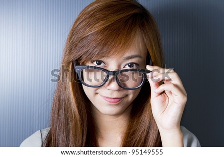 Closeup picture of lovely woman in spectacles.