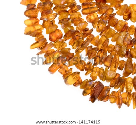 Closeup picture of natural amber necklace. - stock photo