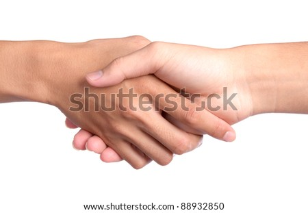 Closeup picture of  shaking hands on white background - stock photo