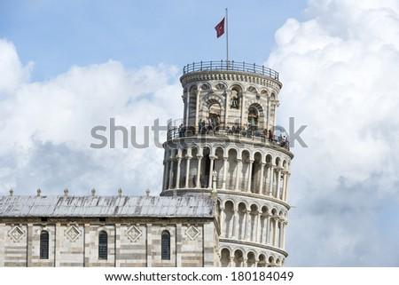 Closeup picture of the Leaning Tower in Pisa, Italy, Tuscany - stock photo