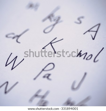 Closeup picture of units about physics written on the paper.