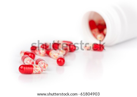 closeup pills isolated on a white background - stock photo