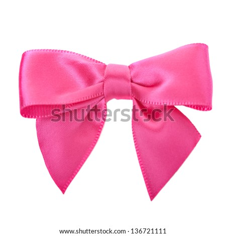 Closeup pink bow isolated over white - stock photo