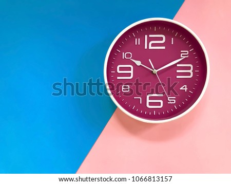 Diagram of a wall clock circuit connection diagram closeup pink wall clock set on stock photo safe to use 1066813157 rh shutterstock com simple clock diagram to tell time clock diagram ccuart Images