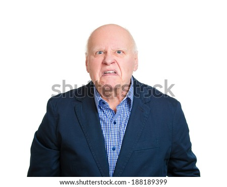 Closeup portrait angry, mad, annoyed, senior business man, unhappy, looking at you sneering, isolated white background. Human emotion, face expression, attitude, interpersonal conflict resolution - stock photo