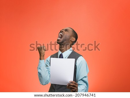 Closeup portrait angry, mad, screaming business man holding paper, document, screaming, looking up isolated red background. Negative emotions, facial expression, feeling. Financial crisis, bad news - stock photo