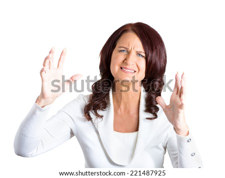 closeup portrait angry woman upset with situation isolated on white background. Negative human face expressions, emotions, feelings, attitude, body language, life perception - stock photo