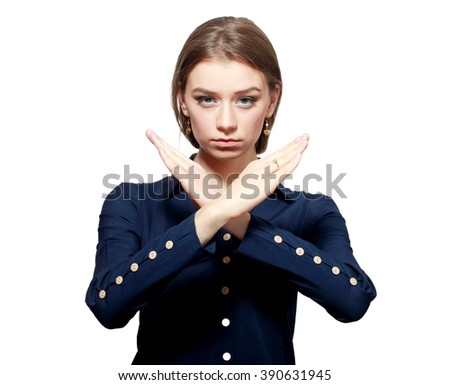 Closeup portrait angry young woman with X gesture to stop talking, cut it out, dont go there, isolated on white. Negative emotion facial expression feeling sign symbols, body language - stock photo