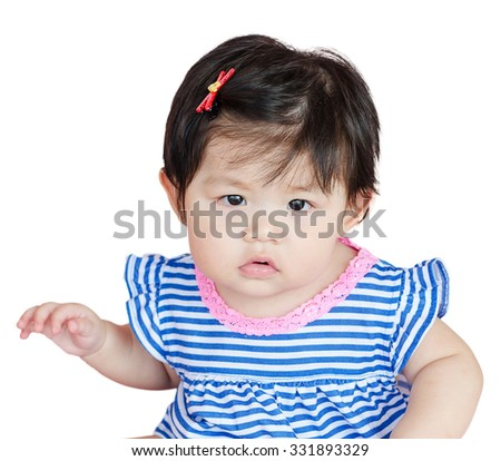 Closeup portrait baby girl looking carefully suspicious feeling isolated on white background - stock photo