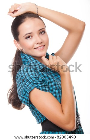 closeup portrait beautiful young woman isolated on white background - stock photo