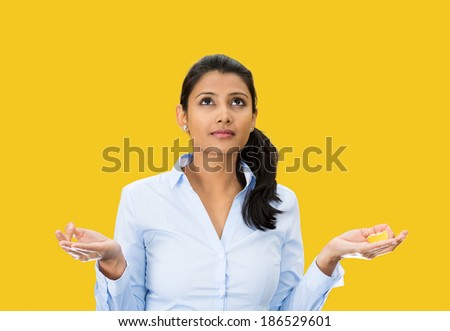 Closeup portrait, beautiful, young woman relaxing, meditating, in zen mode, isolated yellow background. Positive human emotion, facial expression, attitude, perception of life, situation, signs symbol - stock photo