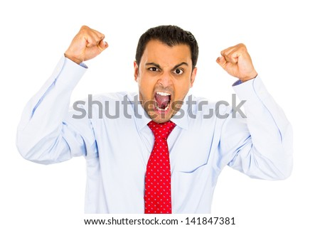 Closeup portrait, bitter, displeased pissed off, angry grumpy man, open mouth, fists in air, screaming and yelling, isolated white background. Negative human emotion facial expression feeling - stock photo