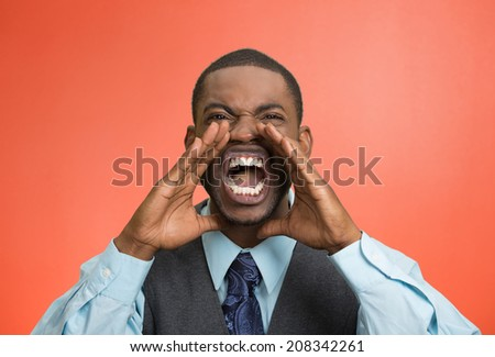 Closeup portrait bitter mad, displeased pissed off, angry grumpy corporate man, open mouth, hands in air, screaming, yelling isolated red background. Negative human emotion facial expression feeling