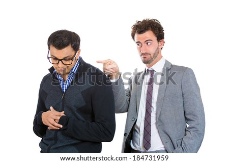 Closeup portrait, boss man pointing for nerdy worker with glasses to leave office, fired. Government shutdown or business downsizing. Isolated white background - stock photo