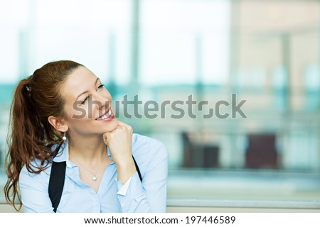 Closeup portrait charming, smiling joyful happy business woman looking upwards daydreaming something, thinking isolated background corporate building office. Positive human emotions, facial expression - stock photo