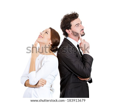 Closeup portrait, charming, young couple backs to each other, looking upwards daydreaming something nice, thinking, isolated white background. Positive human emotions, facial expressions feelings