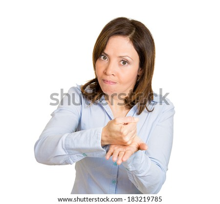 Closeup portrait, demanding boss talking to employee, worker, fist to  hand, this is how I want things done, get to it, isolated white background. Negative human emotion facial expression feelings. - stock photo