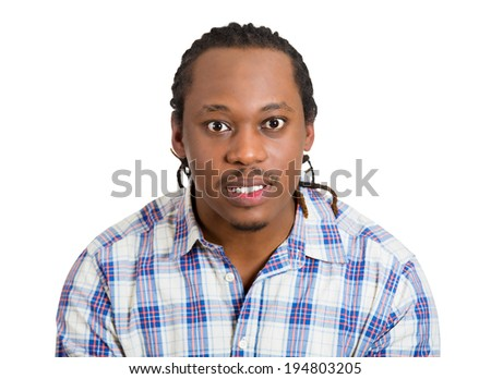 Closeup portrait, displeased, pissed off, angry, cranky grumpy man with bad attitude, looking at you with hatred, contempt, isolated white background. Negative human emotion, facial expression feeling - stock photo