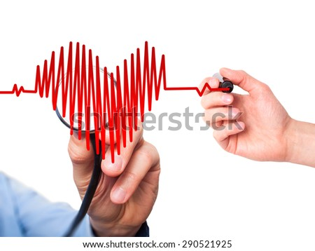 Closeup portrait doctor hand listening to heart beat in heart shape with stethoscope isolated on white background. Preventive medicine concept  - stock photo