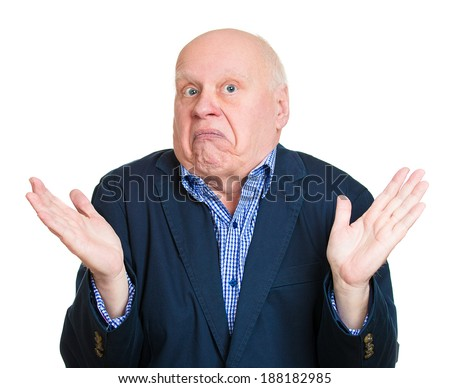 Closeup portrait, dumb clueless senior mature man, arms out asking why whats the problem who cares so what, I dont know. Isolated white background. Negative human emotion facial expression feelings - stock photo