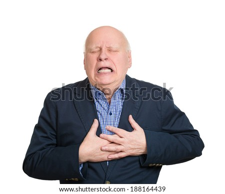 Closeup portrait elderly male executive, corporate employee having sudden chest, heart pain, trying catch air, suffocating, isolated white background. Myocardial infarction, aortic aneurysm rupture - stock photo