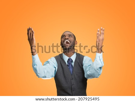 Closeup portrait excited, energetic, happy, screaming student, business man winning, arms, fists, hands pumped celebrating success isolated orange background. Positive human emotion facial expression - stock photo