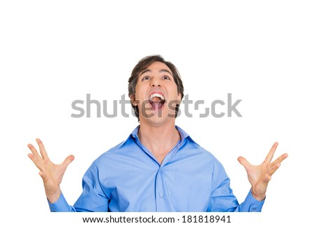 Closeup portrait excited energetic happy, screaming student, business man winning, arms,hands in air, celebrating success isolated white background. Positive human emotion, facial expression, reaction - stock photo