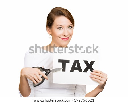 Closeup portrait excited, happy, smiling, energetic, enthusiastic young business woman, funny looking girl, worker, dedicated employee, cutting taxes with scissors, isolated white background. IRS.