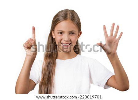 Closeup portrait excited happy teenager girl showing 6 fingers, giving number six sign, isolated white background. Positive human emotion face expression, attitude, reaction, perception body language - stock photo